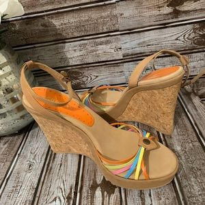 BCBG Generation Wedges With Multi-colored Straps
